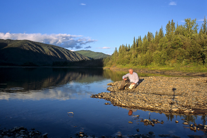 Me on the banks of the Yukon river.  This picture was taken around 11:00pm in the evening.  The summers have extremely long days in the high north but you pay for them in winter.