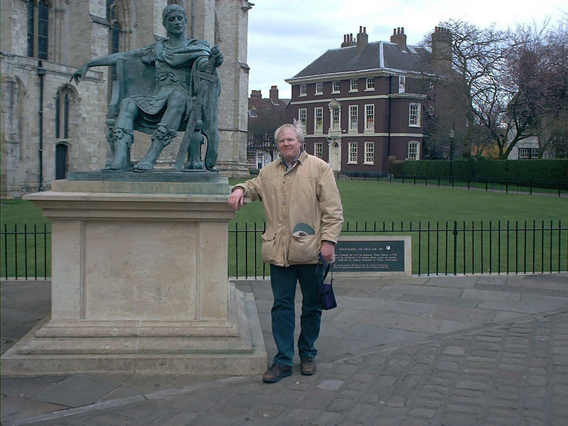Me and Constantine statue near Yorkminster York England (March 2001)