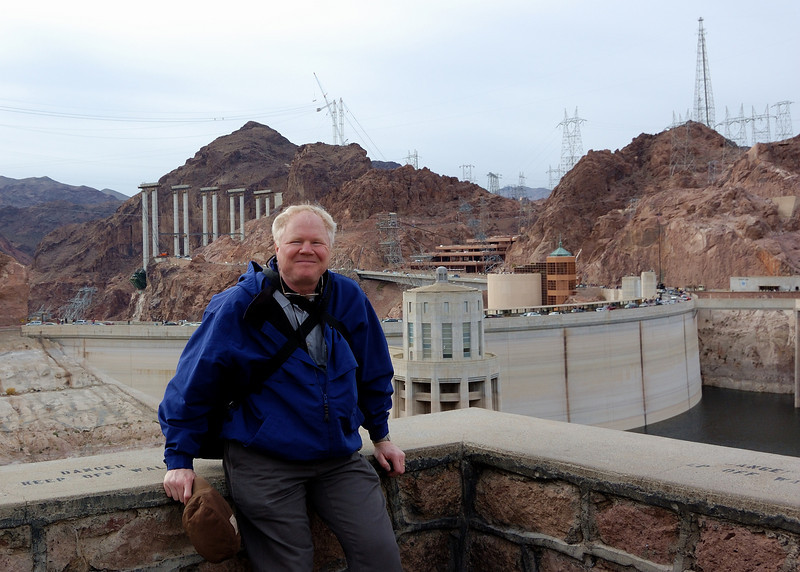 At the Hoover dam on the Arizona side. Currently this is the best roadside view of the dam. When the interstate bridge in the background is complete it will provide the perfect spot. It will be a toss up as to to what will be the best view. The dam from the bridge or the bridge from the dam. Both will be spectacular and together will make this already famous site an engineering shrine.