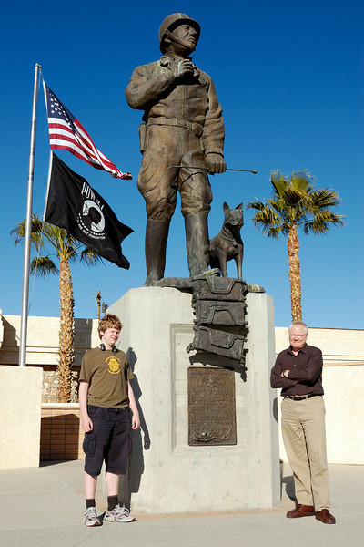 Jacob and me beside the Patton statue on Chiriaco summit.