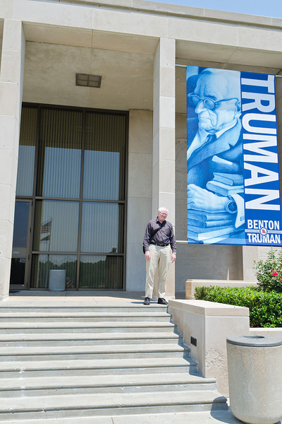 Me on the steps of the Truman Library in Independence Missouri. This is my fifth presidential library. I am making sure they are dead. In Clinton's case I am still waiting.