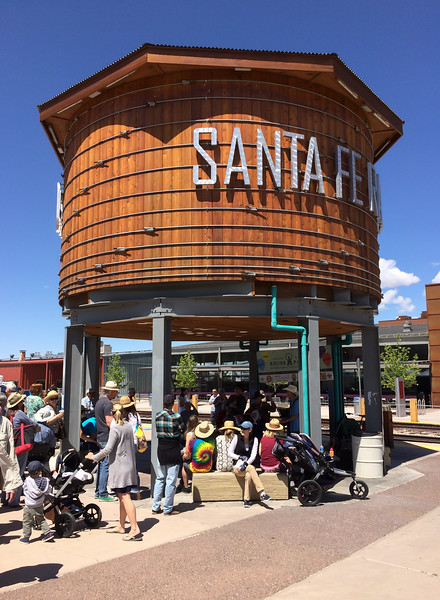 Mali sitting under the Santa Fe rail yard water tower.  The area around the train station in Santa Fe has been redeveloped and is now one of the trendier spots in this very trendy town.
