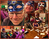 Mali has joined a meetup group.  Members go on hikes and organize the odd social event. Here we are at a Fat Tuesday Mardi Gras social wearing silly masks and playing Mexican Dominoes. Old people, am I right?