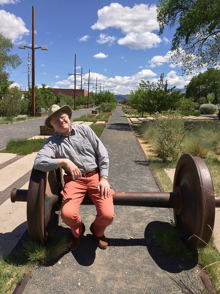 Me in Santa Fe's railyard park. Not too long ago this part of town was a rail switching yard. The paths in the park roughly follow where the tracks used to be. Trains still come downtown but nowadays it's the Rail Runner: a commuter rail line that runs from Santa Fe, through Albuquerque, and down to Belen.