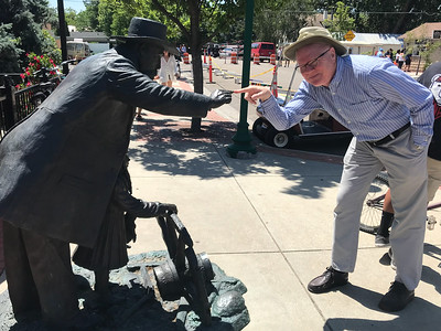 Me giving an Eagle street sculpture a finger.