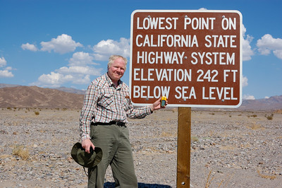 Today we took a short cruise through parts of Death Valley. In our short trip, we set a few records. Our car's thermometer hit a new high of +50C and my GPS hit a new low of -80 meters while standing beside this sign. In my scuba diving days I never went below 200 feet so this is an all-time (non-cave/mine shaft) record. You can go lower in Death Valley. The lowest point in the valley is around -95 meters but reaching that point requires hiking and I wasn't up to a hike in the +50C heat.