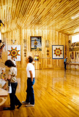 When I first visited the site of the monumental Crazy Horse sculpture in the Black Hills of South Dakota in 1974 I was taken by the warm all wooden interior of the small museum on the grounds. This room no longer exists. It's been replaced by a larger and uglier room.