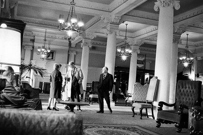 While rummaging in my old negatives I came across this black and white shot I took in the lobby of the Empress Hotel in Victoria British Columbia way back in the 1970s. I was in Victoria on at least two occasions in those days. Once on a golfing trip with my dad and once on a mad holiday dash with friends. This picture could have been taken on either of those trips but I favor the holiday dash on the basis of the camera's angle of view; it's clearly a fairly wide angle lens. This negative is also from my self-development phase. I tended to overdevelop negatives because I liked the high contrast tones. I still do. The negative was badly scratched but sometimes it's calming to slowly remove blemish after blemish until the entire character of the image changes.