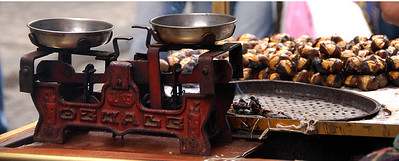 Roasted chestnuts and scale, Eminonu district, Istanbul, Turkey.