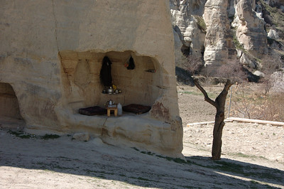 Tea service in a cave, Cappadocia, Turkey.