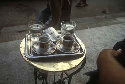 Refreshments at tea house, Cairo, Egypt.