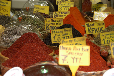 Detail of spices, Grand Bazaar, Istanbul, Turkey.
