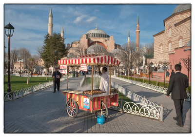 Food vendor at the Haggia Sophia, Sultanahmet, Istanbul, Turkey.