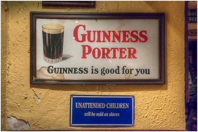 Signs in a pub, Dublin, Ireland.