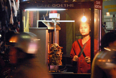 Mobile kitchen, old town Hanoi, Vietnam.