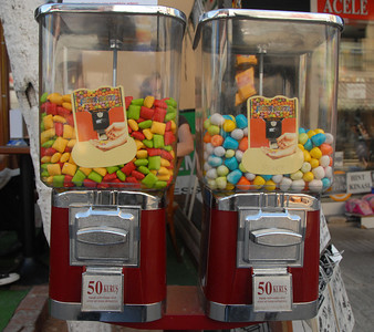They're only 50 Kurus. Gum ball machines, Istanbul, Turkey.