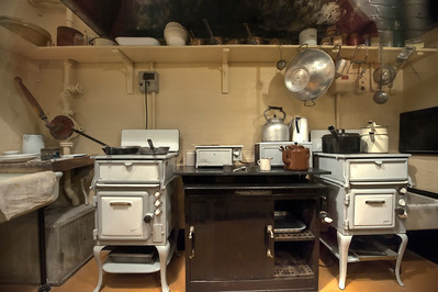 Kitchen in Churchill's War Rooms underneath Westminster, London, England.