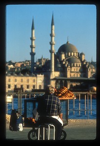 Pretzel vendor on the Golden Horn in Galata, Istanbul, Turkey.