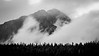 Jasper, Patricia Lake - Morning clouds in front of Pyramid Mountain, black and white