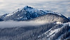 Snoqualmie Pass, Ski Area - Mt. Catherine and ski area with low clouds