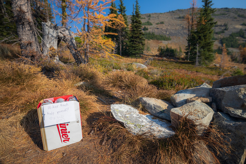 Harts Pass, Windy Pass - Full half rack of Rainier beer left by a trail angel at the start of the PCT