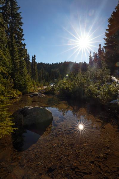 Rainier, Eunice - Sun reflected in small pond near Eunice Lake
