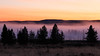 Yellowstone, Landscape - Layers of field, trees, ridges, fog, and sky at sunrise