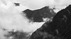 Whatcom, Excelsior - Three ridgelines with fog and clouds, black and white