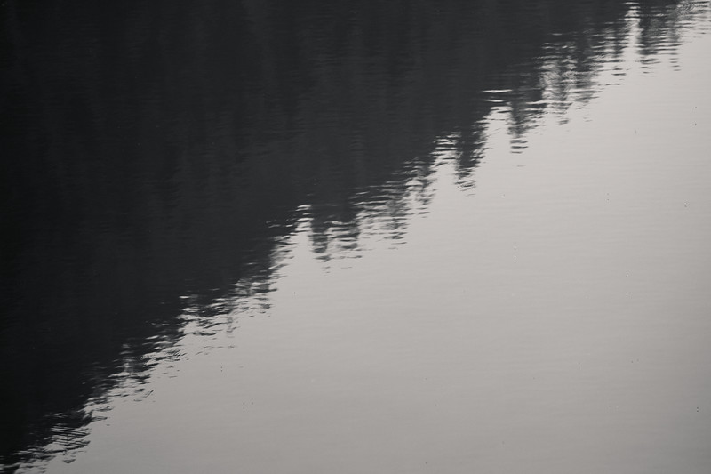 Snoqualmie Pass, Gold Creek Pond - Triangular shape of hillside reflected in lake, bw