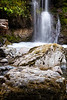 Darrington, Boulder River - Long exposure of waterfall along Boulder River trail with large rock