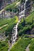 Rainy Pass, Rainy Lake - Cascading waterfalls above Rainy Lake