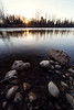 Carnation, Tolt MacDonald - Sunrise over the river in wintertime with rocks