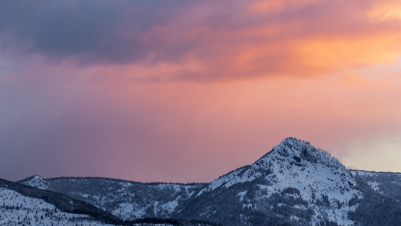 St Helens, Coldwater - Colorful sunset sky on distant tree lined peak
