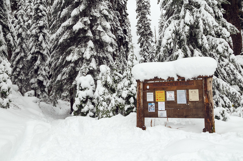 Snoqualmie Pass, PCT South - Trailhead sign in snow, horizontal