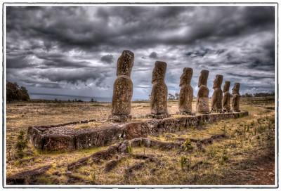 The seven moai facing the sea at Ahu Akivi, Easter Island (Rapa Nui) - HDR.