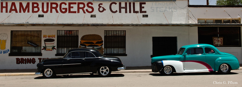 Carrizozo, New Mexico - Restored low riders are parked in front of their owners' favorite restaurant.
