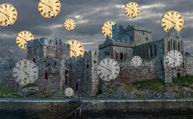 "© 2018 Steve Schroeder - ""Once upon a time, in a gloomy castle on a lonely hill, . . . there were thirteen clocks that wouldn't go. . . ."""