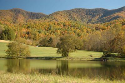 Pond, Blue Ridge mountains of Georgia, USA.