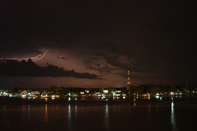 Lightning over the Mekong river delta, Vietnam.