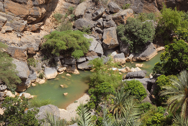 Wadi near, Misfat Al Abreyeen mountain village, Oman.