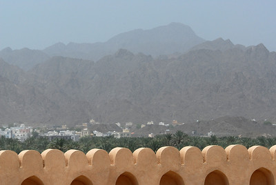 View over ramparts of the Nizwa fort, Nizwa, Oman.
