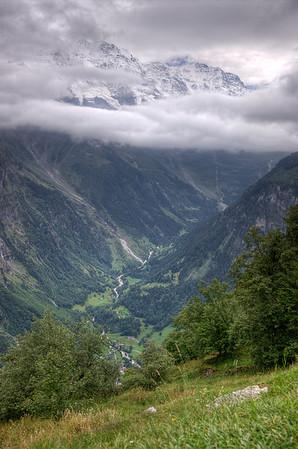 Alpine valley from Mürren, Switzerland.