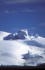Arty icebergs on Disko Bay, near Ilullisat, Greenland.
