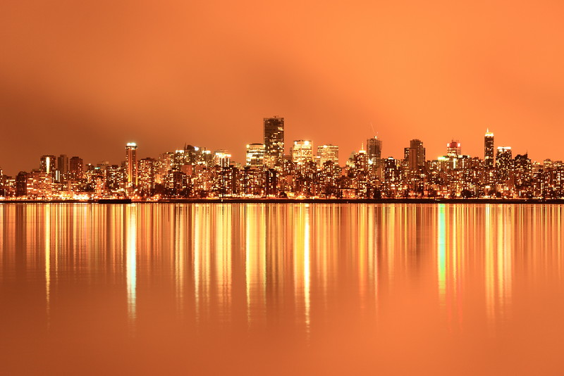 Tungsten Lights<br /> <br /> Downtown Vancouver as seen from Jericho Beach.