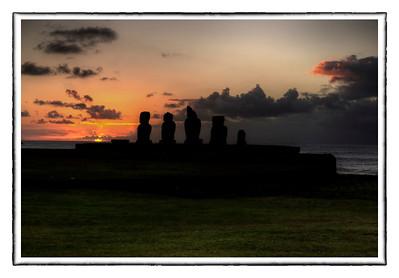 Sunset at Ahu Vai Uri, Easter Island (Rapa Nui).