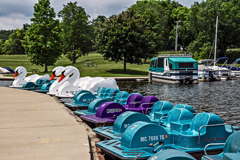 D183-2013  Paddleboats, etc., for rent.<br /> .<br /> Kent Lake, Kensington Metropark, Michigan<br /> July 2, 2013