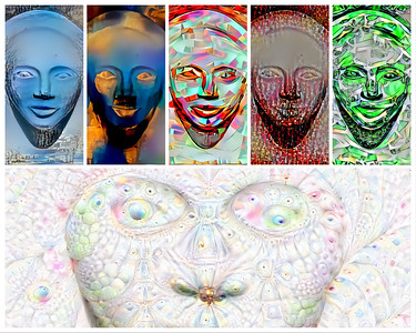 A series of Deep Dream Generator variations.  I find most Deep Dream Images overdone. The tool works best when simple styles are applied to simple base images. Artists don't have to worry about AIs putting them out of business just yet!