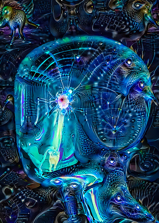 """I recently learned of DeepAI and DeapDreamGenerator. These sites apply """"deep learning AI"""" techniques to your input images. The results might be interesting.  Here I took my mirror head image and repeatedly """"dreamed"""" on it. It seems AI models almost hallucinate like dopers."""