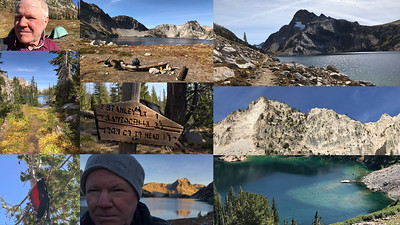 """Collages summarize events in ways single images and videos cannot. They're also a good way to use your mediocre """"look at me"""" cell phone shots. None of the images in this collage are impressive but together they convey a sense of my Sawtooth Lake hike. A single turd is just shit but a large pile of turds becomes organic manure. If you browse this picture's EXIF you'll see it seems to be a single iPhone shot. This is not correct. I extracted EXIF data from the campsite image, (middle image on the top row), and replaced the EXIF written by the collage app I used to make this picture. I frequently manipulate EXIF data. Most of the time I insert dates, locations, and captions but sometimes I insert proxies for shots composed of more than one image."""