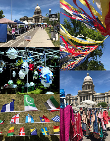 A free music and craft festival celebrating immigrants to Idaho was held on the grounds of the Idaho capitol today. One of the bands was Iranian so Mali wanted to check them out. In addition to free music, many vendors were selling colorful crafts from Africa, India, and Indonesia.